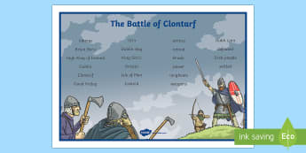 The Battle of Clontarf Word Mat-Irish
