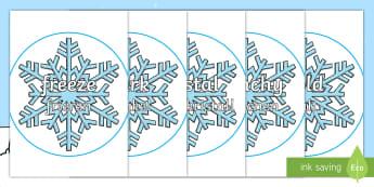 Winter Topic Words on Snowflakes Display Posters English/German - EAL, German, Winter, Snowflake, display, poster, posters, snow, winter, frost, cold, ice, display wo