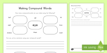 How Many Compound Words Can You Make? Activity Sheets - compound words, English, activity sheets, writing, vocabulary, word work, root word, word study, dai