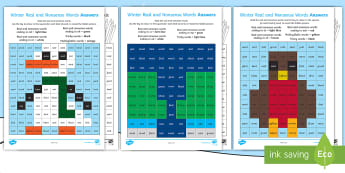 Winter Phase 4 Phonics Mosaic Activity Sheets -  phoneme, decode, pattern, nonsense, Fluency, worksheets