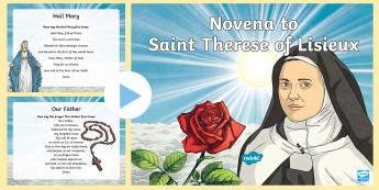 Novena to Saint Therese PowerPoint - novena, grow in love, st therese, religion, fifth class, sixth class, catholic, roman catholic, reli