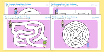 The Enormous Turnip Differentiated Maze Activity Sheet Pack - mazes, worksheet