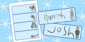 The Snow Queen Editable Drawer Peg Name Labels - label, draws