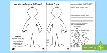 Are You the Same or Different? Activity Sheet - young people, peer pressure, relationships, emotions, behaviour, worksheet