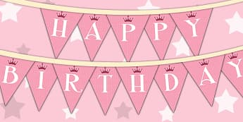 Princess Themed Birthday Party Happy Birthday Bunting - parties