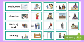 World of Work Flashcards Flashcards - developing the young workforce, topic words, working, jobs, careers, vocational, training,Scottish