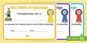 Lá Spóirt, Teastais Rása - Sports Day Race Certificates, teastais rása, lá spóirt, sports day, race, rás, teastas, certific