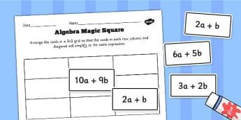Algebra Magic Square Cut and Stick Worksheet / Activity Sheet - algebra, magic, square, maths, numbers, worksheet