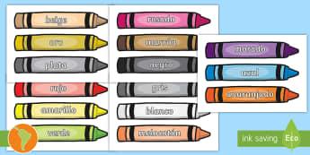 Pósters: Colores en crayones - colores en creyones, crayones, spanish, español