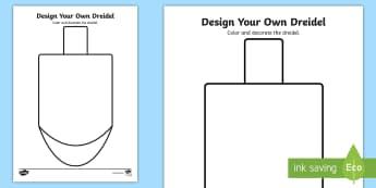 Design Your Own Dreidel Coloring Activity Sheet - Hanukkah, Winter Holidays, Jewish Holidays, Creative Art, Independent Activity, worksheet