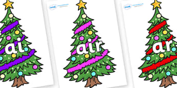 Phase 3 Phonemes on Christmas Trees (Decorated) - Phonemes, phoneme, Phase 3, Phase three, Foundation, Literacy, Letters and Sounds, DfES, display