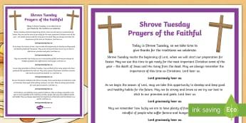 Shrove Tuesday Prayers of the Faithful Print-Out - prayers of the faithful, Roman Catholic, religion, prayer service, assembly, print-out, Shrove Tuesd