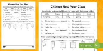Chinese New Year Cloze Activity Sheet - China, Celebration, Comprehension, reading, Sentence structure,Australia, worksheet