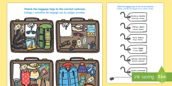Packing for Weather Around the World Activity English/Italian - Packing for Weather Around the World Activity - activity, game, fun, fun activity, packing, holiday,