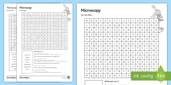 Microscopy Word Search - microscopes, stage, light, coarse focus, objective lens, spellings, keywords