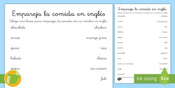 Ficha de actividad: Emparejar comida - Inglés - food, lengua extranjera, meal, vocabulario, inglés, english,Spanish-translation