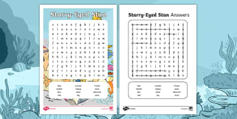Starry Eyed Stan Word Search - English - Twinkl Originals, Fiction, under the sea, seaside, beach, oceans, KS1, EYFS, Vocabulary