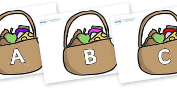 A-Z Alphabet on Baskets - A-Z, A4, display, Alphabet frieze, Display letters, Letter posters, A-Z letters, Alphabet flashcards