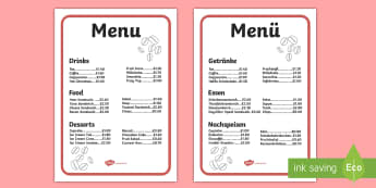 Cafe Menus (Full) Role Play Menu English/German - Shop, coffee sandwich, role play EAL, German, learning ,translation