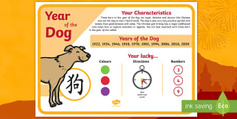 Chinese New Year of the Dog Display Poster - chinese new year, display poster, information, year of the dog