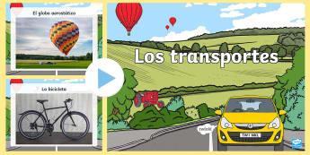 Transport Photo PowerPoint - Spanish - Spanish, Vocabulary, KS2, transport, powerpoint, photo,Spanish