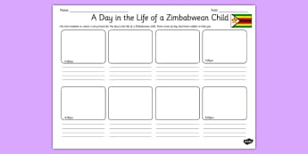 A Day in the Life of a Zimbabwean Child Storyboard Activity - writing, english, africa, culture, routine, comparison, contrast, ks2, key stage 2, drama, drawing
