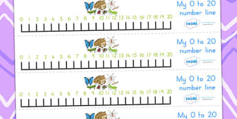 Minibeasts Number Line 0 20 - count, counting, counting aid