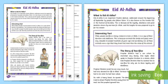 KS2 Eid Al-Adha Differentiated Reading Comprehension Activity - english, RE, Religious festivals, Muslim, Islam