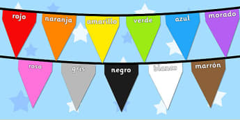 Colours on Bunting Spanish - colour, display, keywords, spain, spanish, espana, languages, translated