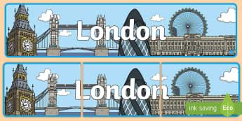 London Display Banner - capital city, England, Big Ben, Buckingham Palace,