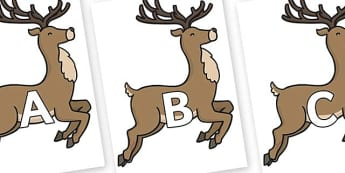 A-Z Alphabet on Reindeer - A-Z, A4, display, Alphabet frieze, Display letters, Letter posters, A-Z letters, Alphabet flashcards
