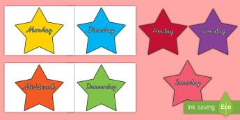 Bunte Sterne Wochentage Motive zum Ausschneiden für die Klassenraumgestaltung - Bunte, Sterne, Wochentage, Woche, Tage, Wochenende, Klassenraumgestaltung, Ausschneiden, Tage lernen