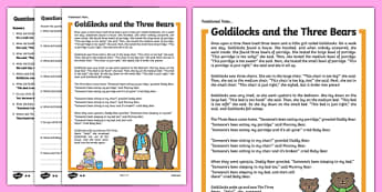 Goldilocks and the Three Bears Traditional Tales Differentiated Reading Comprehension Activity