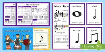 CFE Second Level Musical Notation Resource Pack - crotchet, mimin, quaver, clef, treble, bass, Scottish, read music