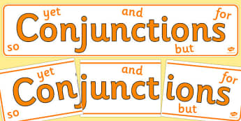 Conjunctions Display Banner - Connectives, cohesive device