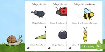 Fichas: Dibuja la cantidad Ficha de actividad - contar, cuenta, bichos, insectos, las partes del insecto, números,Spanish