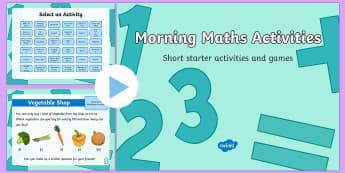 Morning Maths Activities PowerPoint-Australia - Back to School Australia, morning activity, morning activities, math activities, maths starter, warm