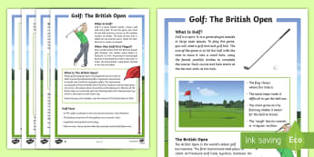 The British Golf Open  Differentiated Fact File - reading, comprehension, tournament, information, sport