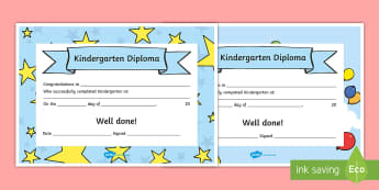 Editable Kindergarten Diplomas - End of school year, end of year, end of school, graduation, editable diploma, Kindergarten diploma,