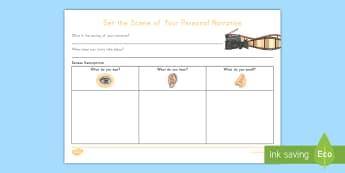 Set the Scene Writing Worksheet / Activity Sheet - Writing, Narrative, Setting, Senses Writing, Personal Narrative, Graphic Organizer, writing Organize