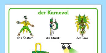 der Karneval Carnival Word Mat German - german, carnival, circus, word mat, writing aid, mat, costume, float, music, charity, lights