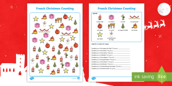 French Christmas-Themed Counting Activity Sheet - Festivals, Celebrations, Noël, France, Key Stage1, Numbers, traditions,French