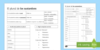 The Plural of Nouns in Spanish Activity Sheet - grammar, plural, activity sheet, worksheet, Spanish