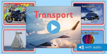 Transport Audio Flashcards - transport, vehicles, photos, images, audio, sounds
