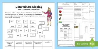 Year 4 Grammar: Determiners Learning From Home Activity Booklet - Learning From Home Activity Booklets (KS2), determiners, definite article, indefinite article, gramm