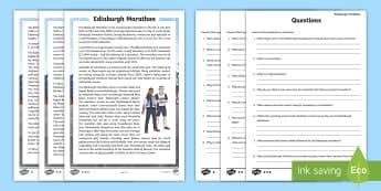 CfE Edinburgh Marathon Differentiated Reading Comprehension Activity - CfE Edinburgh Marathon (27th of May), Edinburgh, capital, marathon, running, 26 miles, reading, comp