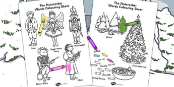 The Nutcracker Words Colouring Sheet - nutcracker, colouring