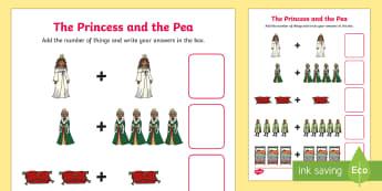 Princess and the Pea Addition Sheet - princess and the pea, addition, sheet, addition sheet, princess and the pea worksheet, addition worksheet, numeracy