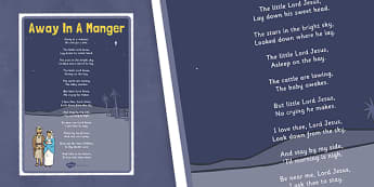 Away In A Manger Lyrics Poster - away in a manger, lyrics, poster, display