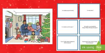 Karty z pytaniami Świąteczny poranek - boże narodzenie, gwiazdka, mikołaj, choinka, święta, świąteczne, prezenty, prezent, pytania, z